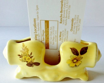 Vintage 80's Ceramic Business Card Holder Yellow with Sunflowers