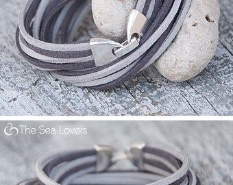 Glacier gray suede bracelet  Autumn trends Charm double wrap bracelet Multi strands bracelet Handmade Jewelry For her For him Minimalist