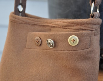 Brown wool small bag with striped web strap and outside pocket
