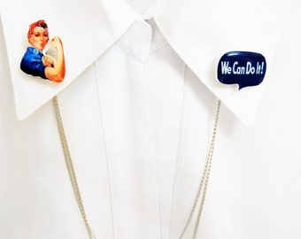 We Can Do It! Double Collar Pin Rosie the riveter Collar Pin Gift For Her Gift Idea