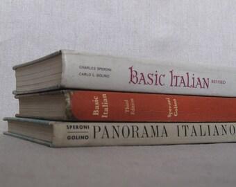 Set of Three Italian Language Textbooks