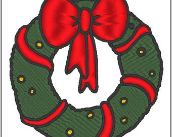 Christmas Wreath Embroidery Design File Instant Download Holiday Festive Red and Green Big Bow