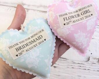 Bridesmaid Gift - Thankyou Bridesmaid Gift - Flower Girl Gift- Fabric Heart - Personalised Bridesmaid Heart - Fabric Hanging Heart Wedding