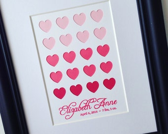 Pink Hearts Personalized Wall Decor / Personalized Wall Art / Papercut Art
