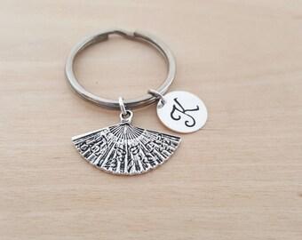 Fan Keychain - Oriental Fan - Personalized Key Chain - Initial Key Chain - Custom Key Chain - Personalized Gift - Gift for Him / Her