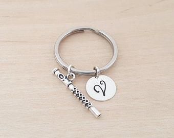 Flute Keychain - Personalized Keychain - Initial Keychain - Band / Music Gift - Key Chain - Gift - Custom KeyChain
