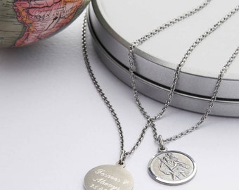 Personalised Silver St Christopher Medal Necklace (HBMN06 /19)