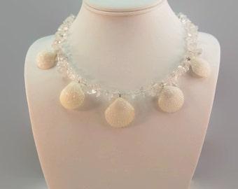 Scallop Shell Beach Wedding Necklace White Boho Wedding Necklace Seashell Wedding Beach Wedding Jewelry Sea Shells Wedding Mermaid Wedding