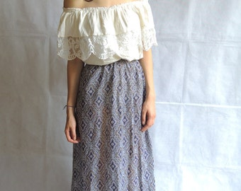 Vintage Boho Long Maxi Colorfull Floweres Print Skirt