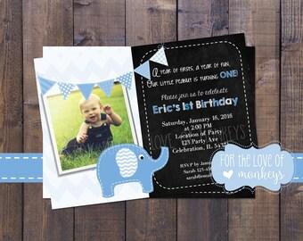 Elephant Birthday Invitation, 1st Birthday Invite, Blue Elephant Invitation