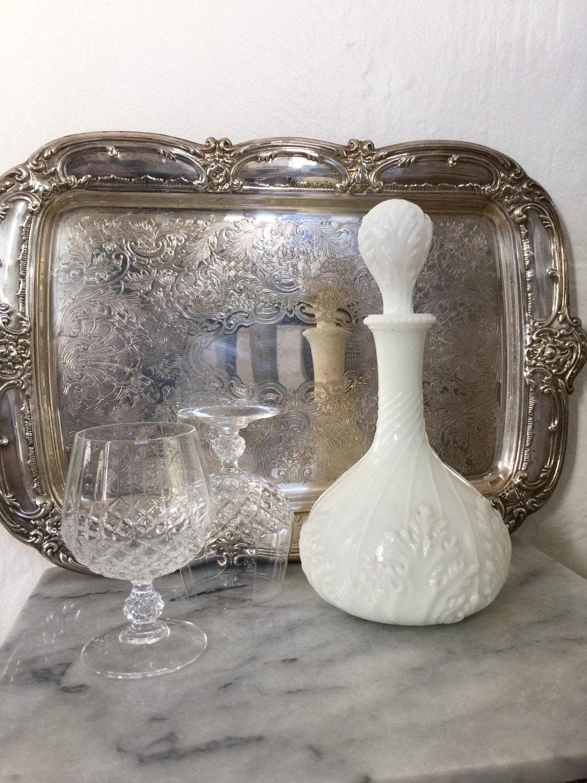 Antique Milk Glass Decanter / Victorian White Milk Glass