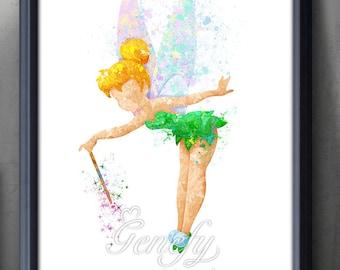 Disney Tinkerbell Fairy Watercolor Art Poster Print - Wall Decor - Artwork - Home Decor - Kids Decor - Nursery Decor [2]