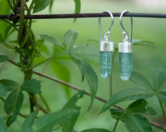 Raw Aquamarine Earrings with Brushed Sterling Silver Caps