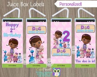 Doc McStuffins Juice Box Label, Doc McStuffins Label, Doc Mcstuffins Bottle, Doc McStuffins Party, Doc McStuffins Birthday, Doc Juice Labels