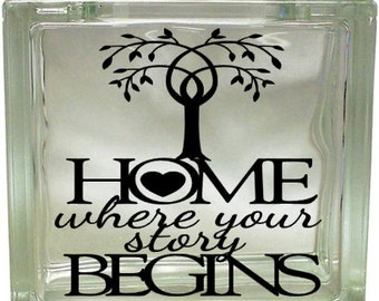 Home is Where Your Story Begins Tree Heart Vinyl Decal Glass Deco Block Vinyl Sticker Craft Nightlight