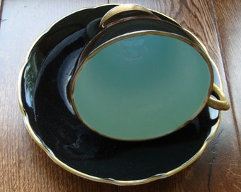 Sutherland Bone China Staffordshire England - Vintage Tea Cup and Saucer - Black and Teal with Gold Foot, Handle and Trim