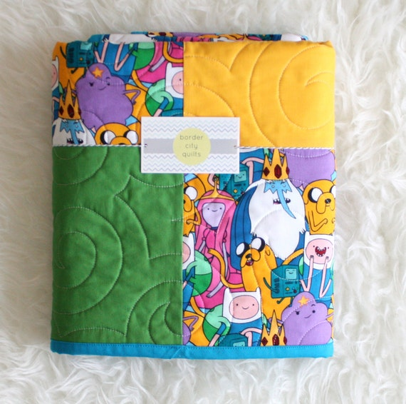 Adventure time quilt quilted baby blanket patchwork for Jake quilted bedding