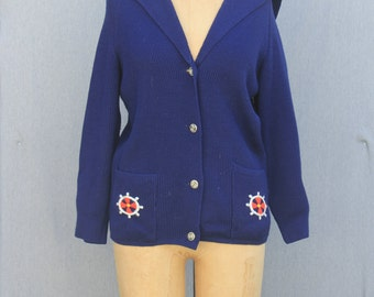 Royal Blue Sailor Cardigan