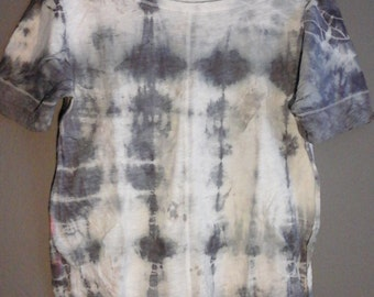 Shibori Alkanet and Acorn/Iron Eco-Dyed Recreated Wide Boat neck Short-sleeved Top XL