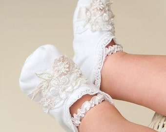 Girls Baby Booties, Jessa White Lace Booties, Floral Applique