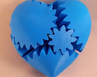 Twisted Heart Gear, 3D Printed Heart Shaped Fidget