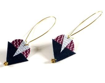Fabric Earrings - Geometric Earrings - geometric Fabric - Fabric Mosaic - fabric Jewelry - Earrings Fabric - geometrical Earrings