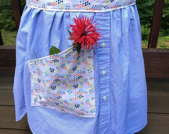 Mini Floral and Blue Check. Half Apron with Pocket. Cafe Apron. Upcycled Men's Shirt Half Apron.