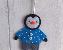 Felt penguin, handmade in little trousers and jumper