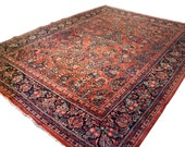 RESERVED FOR MANSI 9x11.8 Antique Persian Sarouk rug, hand knotted rug, floral rug, vintage persian rug, traditional decor, 1930s