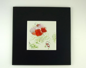 Painting on Porcelain Stoneware Tile, Morpho Bleu Illustration,Enamel Painting, Red Flower,For Dreamers and Poets