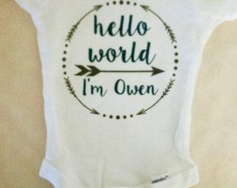 Personalized Boy's Hello World Onesie. Personalized onesie. Baby Boy Bring Home. Boy Take Home . Baby Boy Newborn Outfit. Boy's Arrow Onesie