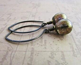 Czech Glass Picasso Druk Beads and Vintaj Brass  Earrings