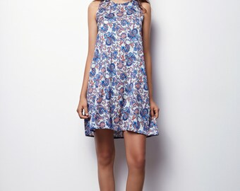 White  Floral tank Dress, Sleeveless Dress, Summer Dress with pockets - Mery