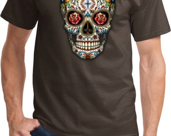 Men's Skull Shirt Sugar Skull with Roses Tee T-Shirt WS-16553-PC61