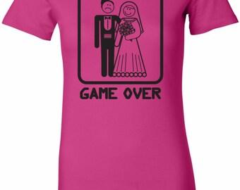 Black Game Over Ladies Longer Length Tee T-Shirt BGAMEOVER-6004