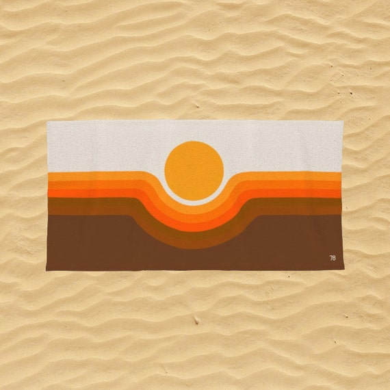 Desert Stripes Beach Towel Retro Desert Vibes Striped Beach Towel