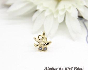 Gold bird pendant etsy tiny bird charm flying bird charm tiny gold bird charm gold bird pendant mozeypictures Gallery