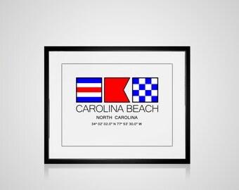 "Matted CAROLINA BEACH, North Carolina Nautical Flag Art Print Image Size Is  8"" x 10"" Matted 11"" X 14""Ocean Beach Coastal Decor Home"