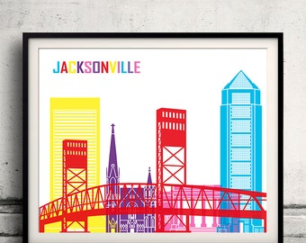 Jacksonville pop art skyline - Fine Art Print Glicee Poster Gift Illustration Pop Art Colorful Landmarks - SKU 1984