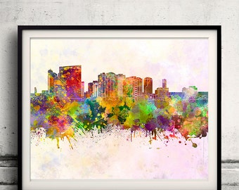 Chiba skyline in watercolor background 8x10 in. to 12x16 in. Poster Digital Wall art Illustration Print Art Decorative - SKU 1311