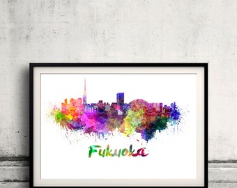 Fukuoka skyline in watercolor over white background with name of city - Poster Wall art Illustration Print - SKU 1533