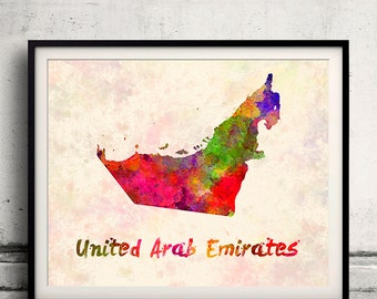 United Arab Emirates - Map in watercolor - Fine Art Print Glicee Poster Decor Home Gift Illustration Wall Art Countries Colorful - SKU 1808