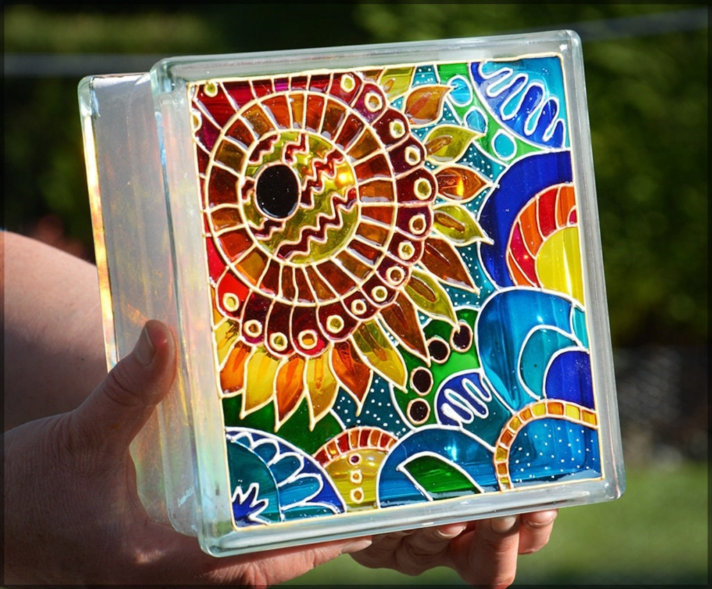 Painted Glass Wall Lights : Painted Glass Block / Pop Art Sunflower Gift / Night Light or