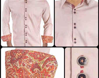 Tan with Maroon Paisley Men's Designer Dress Shirt - Made To Order in USA