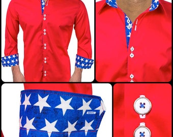 Men's Patriotic Designer Dress Shirt  - Made To Order in USA