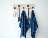 Blue Softened Linen Towels set with Polka Dots