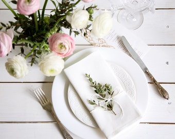 White Linen Dinner Napkins set of 6