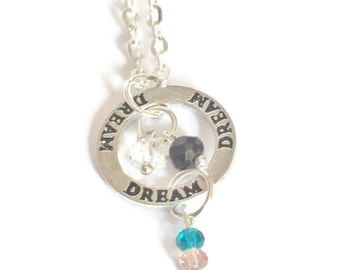 Dream Affirmation Ring Charm Necklace, Charm Necklace, Swarovski Crystal Pink Blue Necklace, Black Silver Chain Necklace, Stamped Necklace