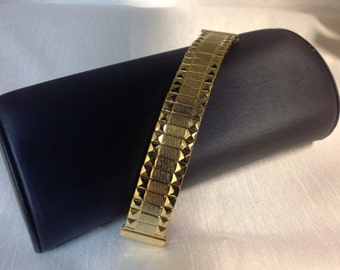 """Metal Gold Tone Ladies Watch Band ,Stainless Steel Classic Expansion, 4 1/2""""  Expandable Band, Fits 16 mm to 17mm, Retro Style"""