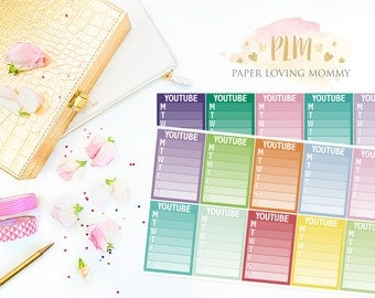 20 Youtube Sidebar Stickers | Planner Stickers designed for use with the Erin Condren Life Planner | 1109